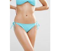 Mix & Match Seitlich geschnürte Bikinihose Blau
