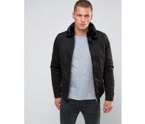 Evans Wattierte Harrington-Jacke mit abnehmbarem Kunstfell-Kragen Schwarz