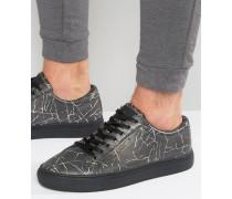 Cracked Bedruckte Sneaker Schwarz