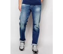 Waykee 850W Gerade geschnittene, weite Jeans in mittlerer Waschung Blau