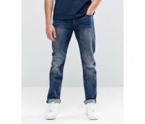 Stretch-Jeans mit Vintage-Waschung, reguläre Passform Blau