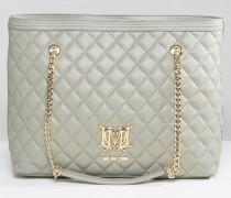 Gesteppte Shopper-Tasche mit Kettenriemen Grau