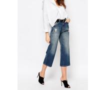 Gekürzte Jeansshorts im Used-Look Blau