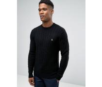 Schwarzr Pullover aus Merinowolle mit Zopfmuster Schwarz