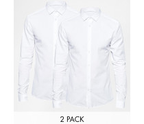 Eng geschnittene Hemden in Weiß, 2er-Pack, 15% RABATT Weiß