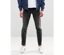 Schmale Stretch-Jeans in verwaschenem Schwarz, 12,5 oz Schwarz