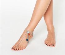 Fußkette mit Münz- und Bommeldesign Silber