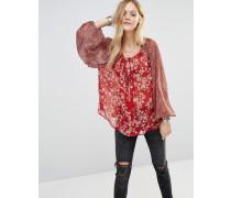 Bluse mit Blumenmuster Rot