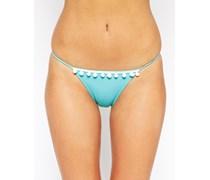 Bikini-Tangaslip mit Rüschenborte Mehrfarbig