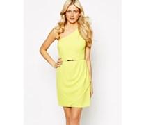 Schulterfreies Krepp-Kleid Gelb