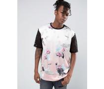 T-Shirt mit Blumenmotiv Rosa