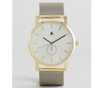 Armbanduhr mit Netzband in Silber mit Gold Silber