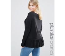 Langärmeliges Jersey-Shirt mit Rüschensaum Schwarz