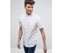 Kurzärmliges Hemd mit Vogelmuster Weiß