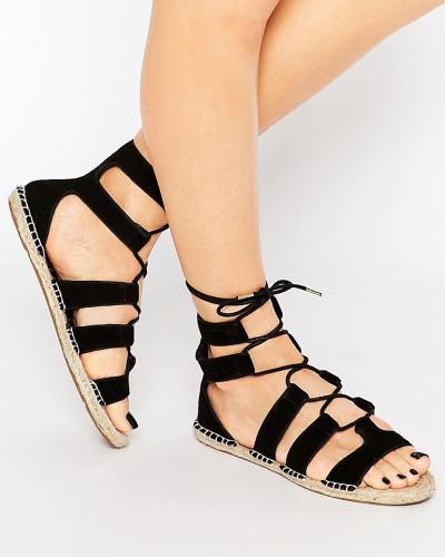 new look damen espadrille sandalen zum schn ren schwarz. Black Bedroom Furniture Sets. Home Design Ideas