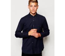 Einfarbiges Flanellhemd Marineblau