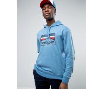 Leichter Kapuzenpullover in hellem Blaugrau mit Logo Blau