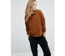 Weites Sweatshirt mit Ziernähten Braun