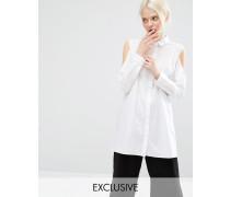 Exklusives Hemd mit Schulterausschnitten Weiß