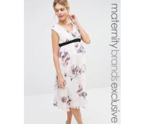 Little Mistress Maternity Skaterkleid mit tiefem Ausschnitt und Blumenmuster Mehrfarbig
