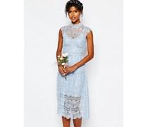 Wedding Kleid aus blauer Spitze mit Päonien Blau