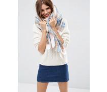 Quadratischer Oversize-Schal mit Karomuster in Natur Weiß