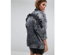 Jeansjacke mit Rüschen in Oversize Grau