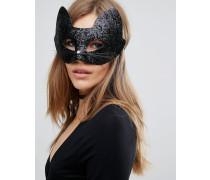 Halloween Glitzernde Katzenmaske Schwarz