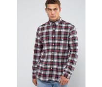 Salcombe Schwarzes Flanell-Hemd mit Schottenkaro in regulärer Passform Schwarz