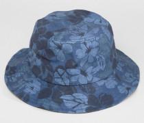 Fischerhut mit Blumenmuster Marineblau