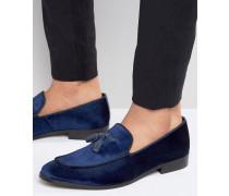Loafer-Hausschuhe aus Samt Blau