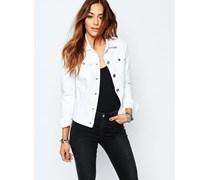 Anliegende Jeans-Jacke Weiß