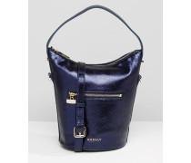 Kleine Hobo-Tasche aus Leder Marineblau