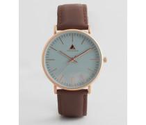 Uhr mit braunem Armband und grauem Zifferblatt Braun