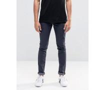 Solid Eng geschnittene Jeans mit Stretchanteil in Blauschwarz Blau