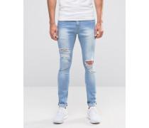 Brooklyn Supply Co Jeans mit Rissen und Spray-On-Effekt in heller Waschung Blau