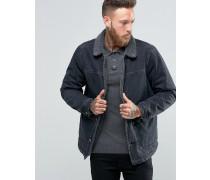 Jeansjacke in verwaschenem Schwarz mit durchgehendem Fellfutter Schwarz