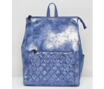 Rucksack in Metallic mit Knitteroptik Blau