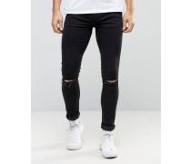 Superenge schwarze Jeans mit Knierissen Schwarz