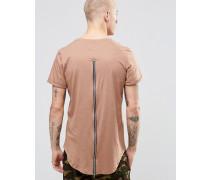 T-Shirt mit Reißverschluss hinten Steingrau