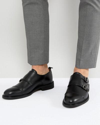 Selected Homme Herren Monk-Schuhe aus Leder mit zweifachem Riemen