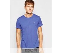 Blau meliertes T-Shirt mit Pfauenlogo, exklusiv Blau