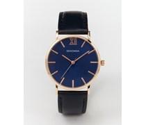 Exklusiv bei ASOS Uhr mit Lederarmband in Marineblau und Roségold-Detail Marineblau