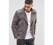 Selected Biker-Jacke aus Wildleder Grau