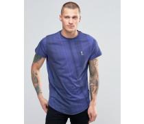 T-Shirt mit abgerundetem Saum und Farbverlauf Marineblau