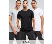 Lang geschnittene T-Shirts mit Rundhalsausschnitt im 3er-Pack in Weiß/Scharz/Grau meliert, SPARE 13 Mehrfarbig