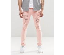 Sehr enge Jeans in Rosa mit extremen Zierrissen Rosa