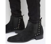 Chelsea-Stiefel aus schwarzem Wildleder mit Nieten Schwarz