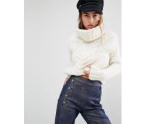 Gigi Hadid Grobstrickpullover mit Rollkragen Weiß