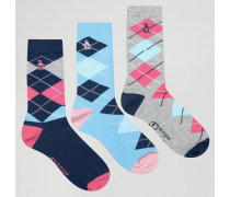 Socken mit Karomuster im 3er-Pack Blau